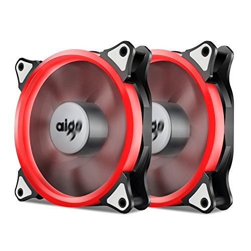 Aigo, Halo Ring LED 120 mm 12 cm PC CPU PC CPU caja enfriamiento neón muy claro ventilador Mod 4 pines/3 pines Paquete de 2 rojos. 120 mm
