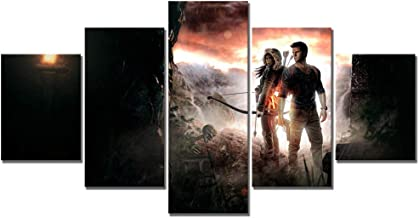 WSJXY 5 Canvas Paintings 5 Piece Canvas Art Uncharted The Lost Legacy Game Poster Paintings Fantasy Art HD Wall Picture for Living Room Decor Framed