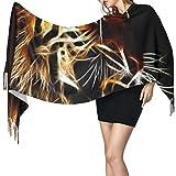 Bufanda de mantón Mujer Chales para, Cara de tigre con galaxia Moda para mujer Mantón largo Invierno Cálido Bufanda grande Bufanda de cachemira