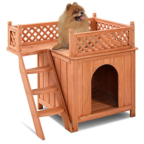 Giantex Pet Dog House, Wooden Dog Room Shelter with Stairs, Raised Roof...