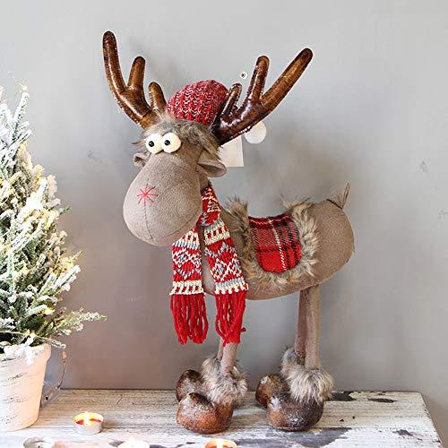 Decoracin de Navidad de cada decoracin, tela no tejida ajustable, adornos de reno de peluche, adorno de decoracin de mesa para el hogar, chimenea-g 50 x 30 cm