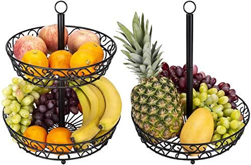 Household 2 Tier Fruit Plate, Worktop Metal Fruit Basket Black Vintage Style Tray Stand Storage Basket Hanging Basket Cake Stand