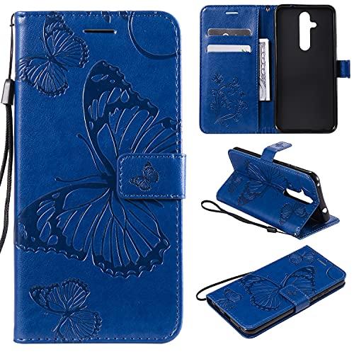 nancencen Handyhülle Kompatibel mit Nokia 8.1 Plus / X71,Geldbörse PU Leder Flip Cover Schutzhülle Hülle Klapphalterungsfunktion -Einfarbig Schmetterling Blau