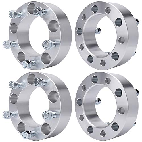 """MAYASAF Wheel Spacers [2"""" THICK, 4 PACK, 5 Lugs] for Ford F150/E150/Bronco, for Jeep CJ3/CJ5(A)/CJ6(A)/CJ7, for Dodge Ram 1500 Van/Ramcharger/W150/B1500, 5x5.5 Bolt Pattern, 108 Hub Bore 1/2x20 Studs"""