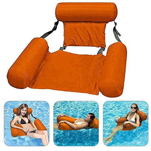 CINSEY Sedia da piscina, amaca gonfiabile gonfiabile per piscina, schienale, sedia ad acqua 4 in 1, materasso gonfiabile ultra leggero, colore arancione