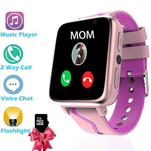 Bojie Kinder Uhren Smart Watch für Student, Jungen Mädchen LBS Smartphone-Uhr mit Voice-Chat SOS MP3-Musik-Player Kamera Zurück in die Schule Birthday Gift(Enthält 1 GB SD-Karte) (G612 Pink) (Pink)