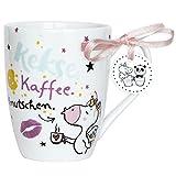 Hope und Gloria 45346 Einhorn-Tasse mit Spruch Kekse, Kaffee, Knutschen,  Porzellan-Tasse, 40 cl, mit Geschenk-Anhänger, Weiß