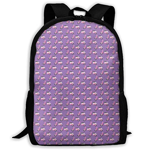 Carry Everyday Bookbag,Adult Rucksack,Laptop Computer Bag,Travel Backpacks,Vintage Deep Deck Girlie Scooters On A Purple Shaded Background Women & Men Durable Casual Daypack for School Business Camp