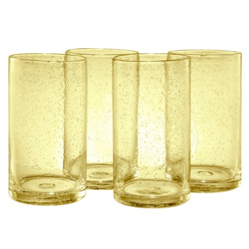 Artland Iris Highball Glasses, Citrine, Set of 4