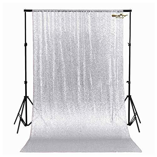 ShinyBeauty 4FTx6FT Sparkly - Sequin Photo Backdrop, Photo Booth, Photography Backdrop, DIY Photobooth, Wedding Backdrop, Sparkle Backdrop, Grad Party, Birthday (Silver)