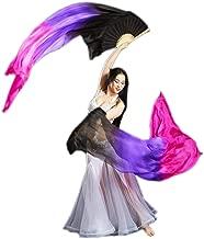 Yizhiwu Women 1 Pair 100% Silk Long Belly Dance Fan Veils 18090 cm