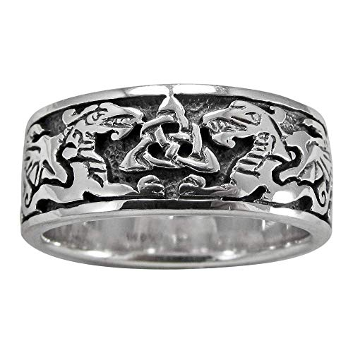 Moonlight Mysteries Sterling Silver Celtic Knot Dragon Triquetra Band Ring (sz 4-15) sz 15