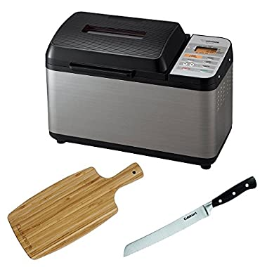 Zojirushi BB-PAC20 Home Bakery Virtuoso Breadmaker with Gluten Free Menu setting Includes 8-inch Bread Knife and Bamboo Cutting Board