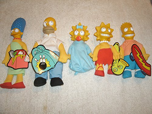 Collection of Five Burger King Simpson Doll Figures: Homer, Marge, Bart, Lisa and Maggie