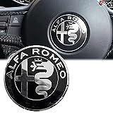 Logo per Volante Sterzo FREGIO Stemma Per Alfa Romeo Nero Black Specchio Logo 40mm Giulietta, Mito, 147, 159, 156, 4c, Brera