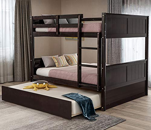 Full Bunk Beds, Rockjame Solid Wood Full Over Full Bunk Bed Frame with Trundle, Space Saving Design Bedroom Furniture with Ladder and Safety Rail for Boys, Girls, Kids, Teens and Adults (Espresso)