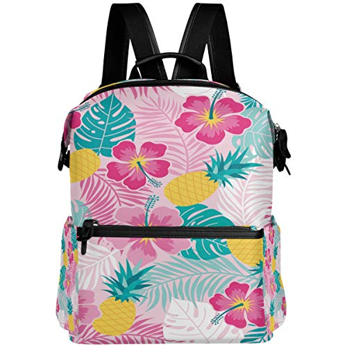 Oarencol - Mochila de verano, diseño de flores de piña, hojas de palma, fruta tropical, hibisco, bolsa para libros escolares, viajes, senderismo, camping, portátil, mochila