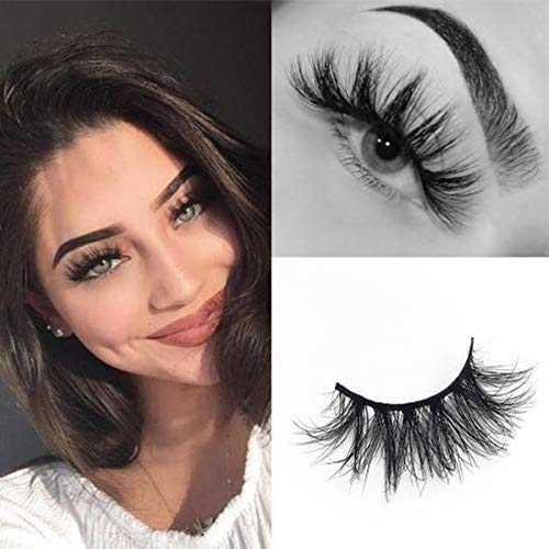 SWINGINGHAIR Mink Lashes, 3D Mink Eyelashes Fluffy Volume Long 19mm Natural Crisscross Fake Eyelashes Siberian 3D Mink Lashes Hand-made Natural Layered Thick Eyelashes 1 Pair E11