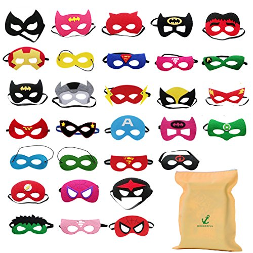 Forwin 30 Superhelden Masken Superhero Party Kinder Masken Gastgeschenke für Cosplay Party Masquerade im Alter