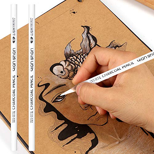 2 Pcs White Sketch Charcoal Pencils -Professional Hight Quality Sketch Highlight White Charcoal Wooden Pencils for Artist Drawing, Sketching, Blending