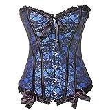 EZSTAX - Corsé de encaje para el vientre, estilo vintage, corpiño, para mujer Y azul S