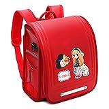 Lixibei Schoolbag Ransel randoseru Escuela Primaria Japonesa Estudiantes Mochila PU Cuero Impermeable de Bloqueo automático de Mayor Capacidad de Lluvia Cover Girls,Rojo
