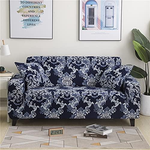 WXQY Rayas geométricas Todo Incluido combinación de Funda de sofá elástica combinación de Funda de sofá Antideslizante de Esquina en Forma de L combinación A17 2 plazas