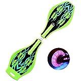 エスボード キックボード キッズ用 スケートボード 子供 外遊び おもちゃ 光るタイヤ 仕様 ギフト 誕生日 プレゼント 進化版 (ライトグリーン)