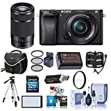 Sony Alpha A6000 Mirrorless Digital Camera with 16-50mm f/3.5-5.6 OSS & 55-210mm f/4.5-6.3 OSS Lenses Black - Bundle with 32GB SDHC Card, Camera Bag, Filter Kits, Software Package and More