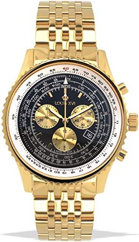 LOUIS XVI Herren-Armbanduhr Artagnan Stahlband Gold Schwarz Chronograph Analog Quarz Edelstahl 982