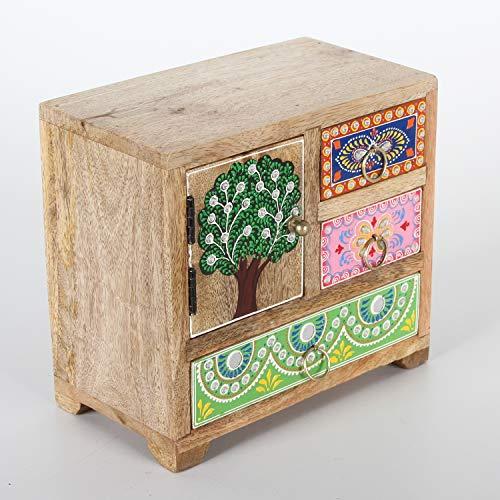 Casa Moro Orientalische Mini-Kommode Anima 21x12x19 cm cm (B/T/H) aus Masivholz Mango mit 3 Schubladen & 1 Türig | Handbemaltes Holz-Kästchen aus Echtholz | Originelle Geschenk-Idee Muttertag | RK100
