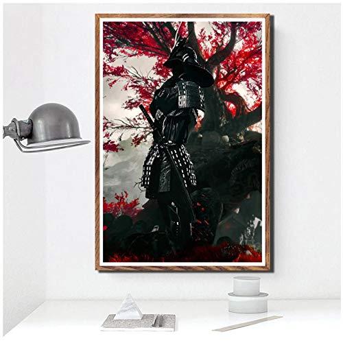 wzgsffs Samurai Bushido Japón Anime Póster Impresiones Pared Arte Impresión En Lienzo para Sala De Estar Hogar Dormitorio Decorativo Café-24X32 Pulgadas X 1 Sin Marco