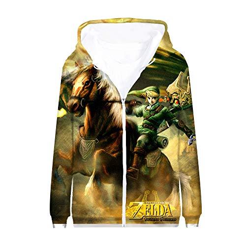 The Legend of Zelda Pullover Anime Mantel Langarm-Eltern-Kind-Reißverschluss-Oberbekleidung Loses T-Shirt tragen Unisex (Color : A09, Size : 140)