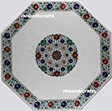 White Octagon Marble Conference Table Top Meeting Table Inlay Work with Multi Color Semi Precious Stones can be Used in Hallway Room 48 Inches