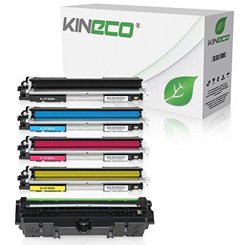 4 Kineco Toner mit Trommel kompatibel mit HP Laserjet Pro MFP M170 Series M176 N M177 FW - CF350A CF351A CF352A CF353A CE314A - Schwarz 1.300 Seiten Color je 1.000 Seiten, Trommel 14.000 Seiten