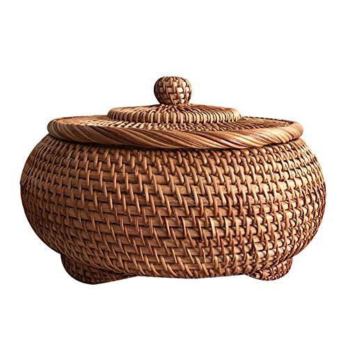 Full-size basket Rural style fruit basket with lid/retro egg basket Outdoor picnic basket Round candy basket Wicker storage basket Shopping basket Bread basket Hand-woven basket