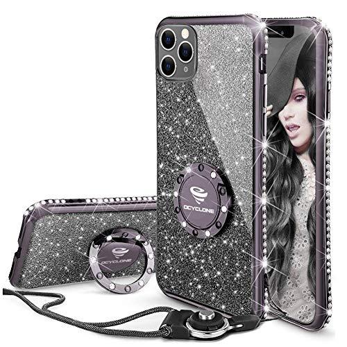 OCYCLONE Funda para iPhone 11 Pro MAX, Glitter Cristal Diamante Brillante y Soporte de Anillo para Niñas y Mujeres, Funda para Teléfono con Purpurina para iPhone 11 Pro MAX de 6.5 Pulgadas - Negro