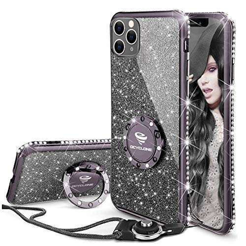 OCYCLONE for iPhone 11 Pro Max Case, 6.5in Glitter Diamond Kickstand Phone Case with Ring&Lanyard Designed for Girls Women, Bling Protective Cover Case Apple iPhone 11 Pro Max -Violet Black