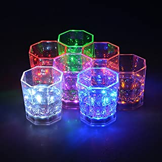 I-Fashion Flashing Light Up Wine Glasses with LED Glowing Lights Wine/Beer Cup for Nightclub Bar Birthday Party KTV Christmas 7 Colors 170ML (Rainbow)