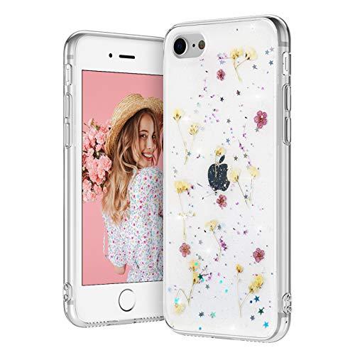 EYZUTAK getrocknete Blumen Hülle für iPhone 7 iPhone 8 iPhone SE 2020, weiche schlanke TPU klar funkeln Sterne Glitzer Silikon Gel stoßfeste Blume Schutztasche - Lila