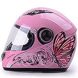 LALEO Estampado de Mariposa Ajustable Casco Moto Integral, Antivaho Hombres y Mujeres, ECE Certificado Blanco Rosa (55-60cm),Pink