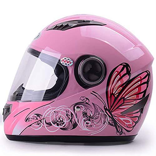 LALEO Schmetterling Muster Einstellbar Integralhelm Motorradhelm, Anti-Fog Jet-Helm mit Visier, Roller-Helm, Damen und Herren ECE Genehmigt, Weiß, Pink (55-60cm),Pink