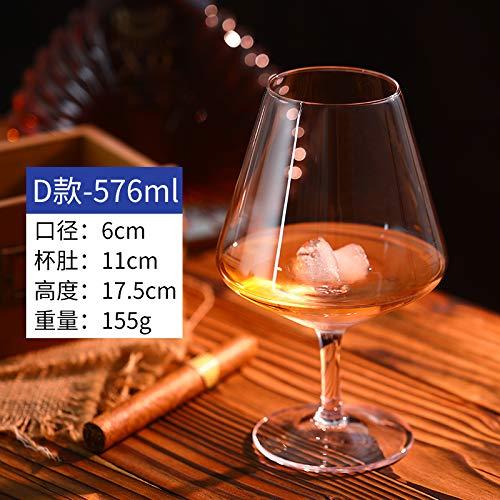 Luxury glass 6 Brandy bekers, buitenlandse wijnbeker, korte poten rode wijnbeker, creatieve whisky, gebruikte bier, wijnbeker, super groot, deel D - inhoud 576ml
