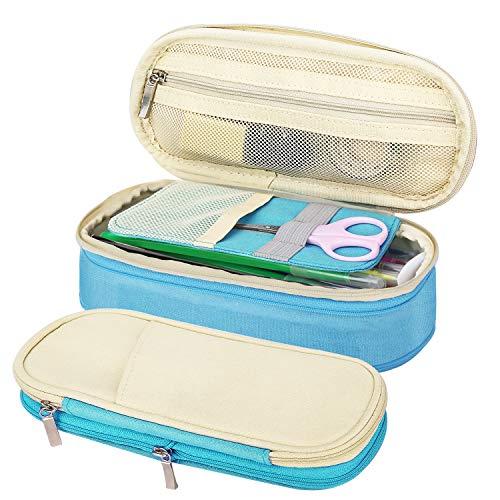 MoKo Caja Estuche de Lápices, Bolsa Organizador Escritorio de Ordenado Portalápices Almacenamiento Accesorio Útiles EscolarTitular Bolsa de la Pulma para Oficina Viaje Maquilaje - Beige + Azul