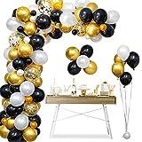 onehous Kit de guirnalda de globos con arco, 120 piezas de confeti negro, blanco, dorado y globos de látex de metal con 1 herramienta para atar, cinta de tira de globos para decoración de cumpleaños