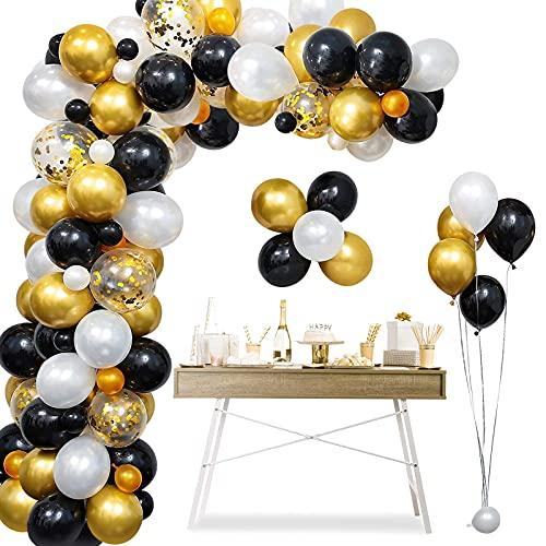 onehous Kit de guirnalda de globos con arco, 120 piezas de confeti negro, blanco, dorado y globos de látex de metal con 1 herramienta para atar, cinta de tira de globos para decoración de cump