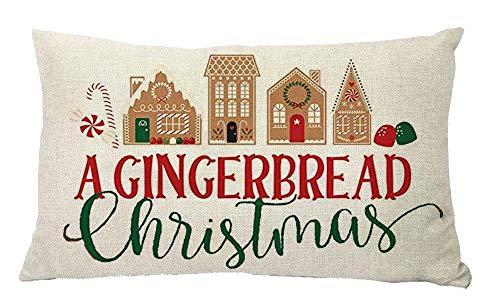 YBDXHA A Gingerbread Cotton Linen Pillow Throw Pillow Case Cushion Cover Home Sofa Decorative 12 X 20 Inch