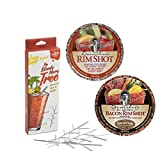 Bloody Mary Gift Set of 3 Items – Set of 4 Bloody Mary Trees Plus Demitri's Spiced Rim Salt in Original and Bacon Flavored