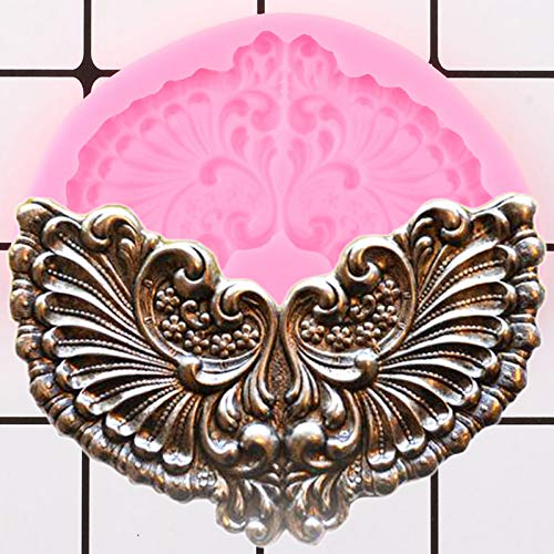 LNOFG Diy Angel Wings Frame Silicone Mold Embossed Medal Frame Fondant Cake Decoration Tool Candy Chocolate Fondant Mould