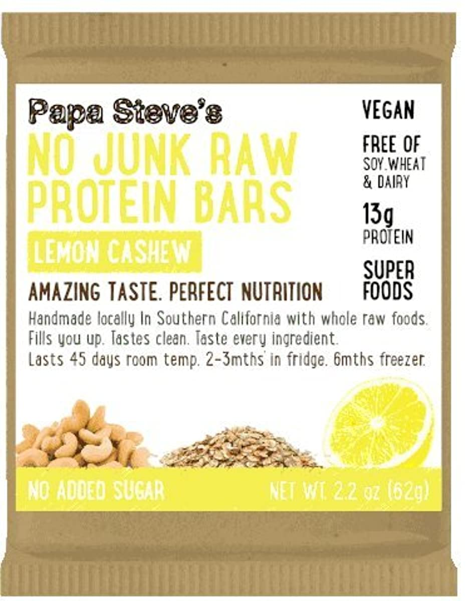 Papa Steve's No Junk Raw Protein Bars,Lemon Cashew 2.2 Oz, 10 Count
